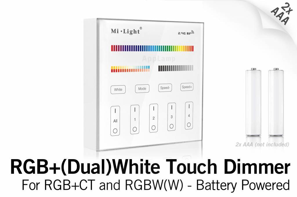 MiLight RGB+ DualWhite (RGB+CT) Touch Wandbediening Opbouw, 4-zones, RF, 2xAAA