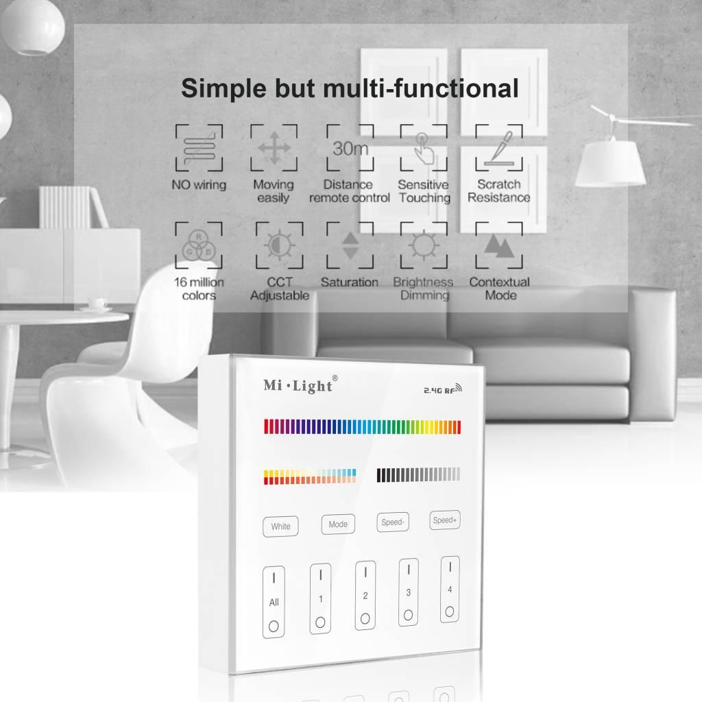 Mi·Light MiLight RGB+ DualWhite (RGB+CT) Touch Wandbediening Opbouw, 4-zones, RF, 2xAAA