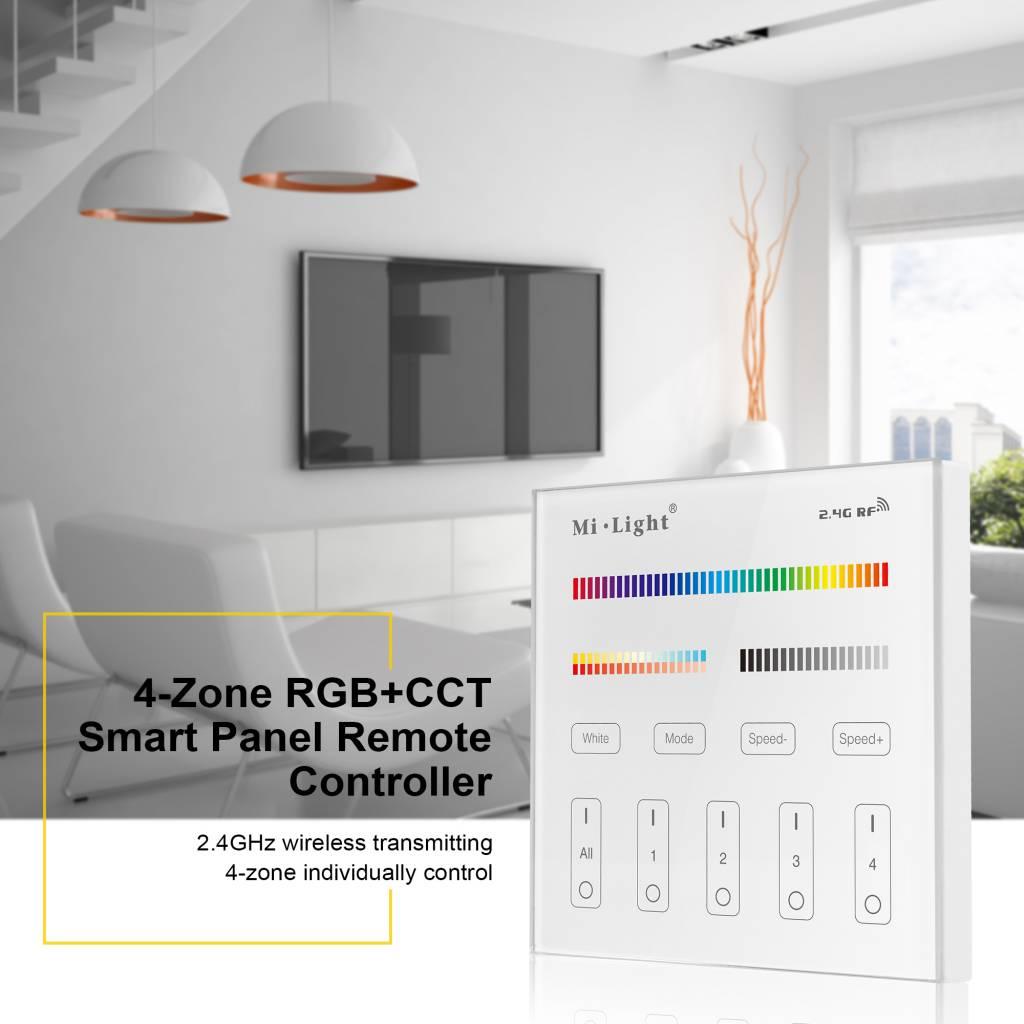 MiLight RGB+ DualWhite (RGB+CT) Touch Inbouw wandbediening, 4-zones, RF, 220V