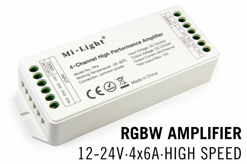 RGBW MiLight LED strip versterker 4 x 6Amp High Speed