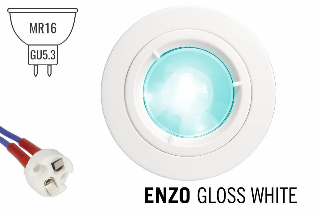 GU5.3 / MR16 LED Inbouwspot Armatuur ENZO. Glanzend Wit ⌀82mm