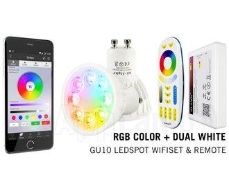 Mi-Light 4W RGBWW GU10 Starterskit Spotje +Wifi Box +afstandsbediening