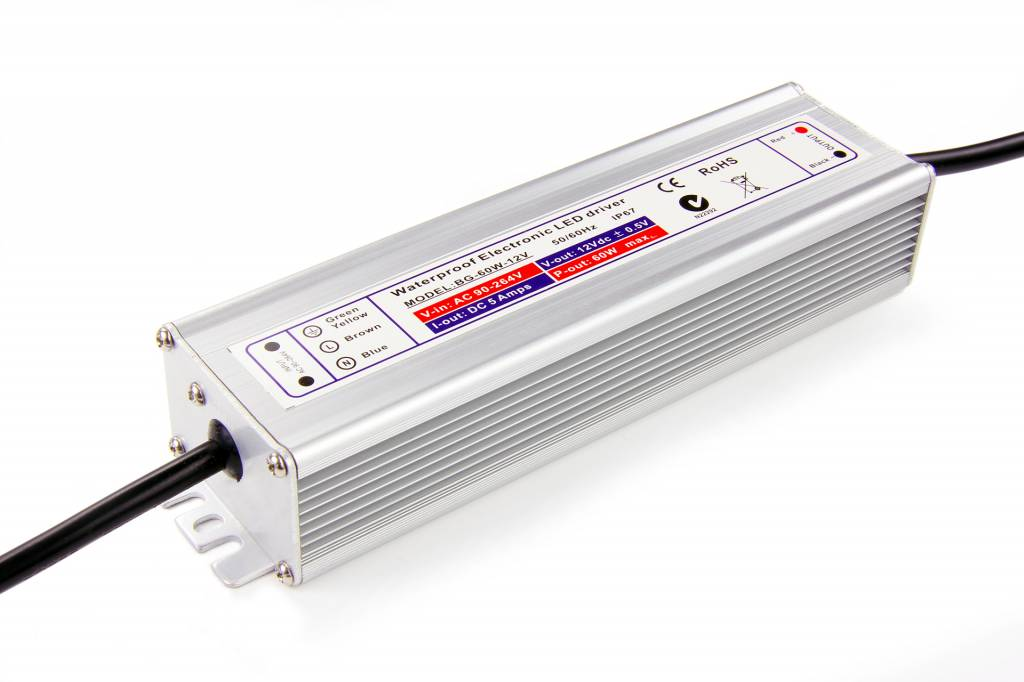 Waterdichte Schakelende Voeding DC 12 Volt 60 Watt5 Ampère IP67