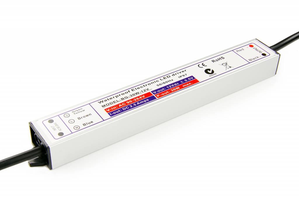 Waterdichte Schakelende Voeding DC 12 Volt 30 Watt 2,5 Ampère IP67