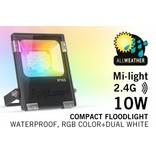 LED Schijnwerper Mi-Light 10W RGBWW Kleur + Dual White. IP65 Spatwaterdicht 220V