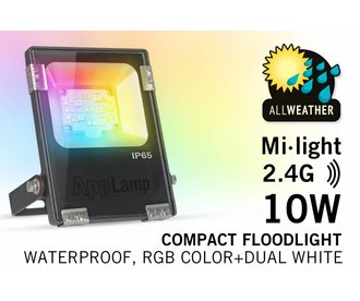 Mi-Light 10W RGBWW Kleur + Dual White LED Schijnwerper. Waterdicht IP65