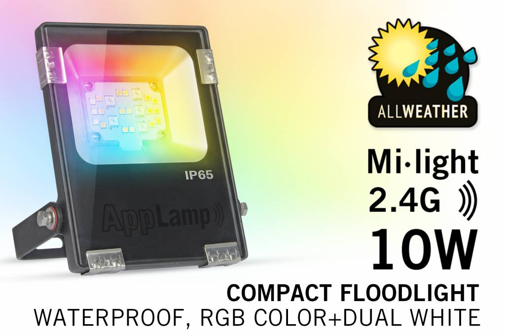 Mi·Light LED Schijnwerper Mi-Light 10W RGBWW Kleur + Dual White. IP65 Spatwaterdicht 220V