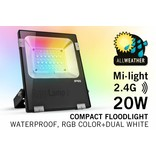 Mi·Light LED Schijnwerper Mi-Light 20W RGBWW Kleur + Dual White. IP65 Spatwaterdicht 220V