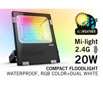 Mi-Light 20W RGBWW Kleur + Dual White LED Schijnwerper. Waterdicht IP65