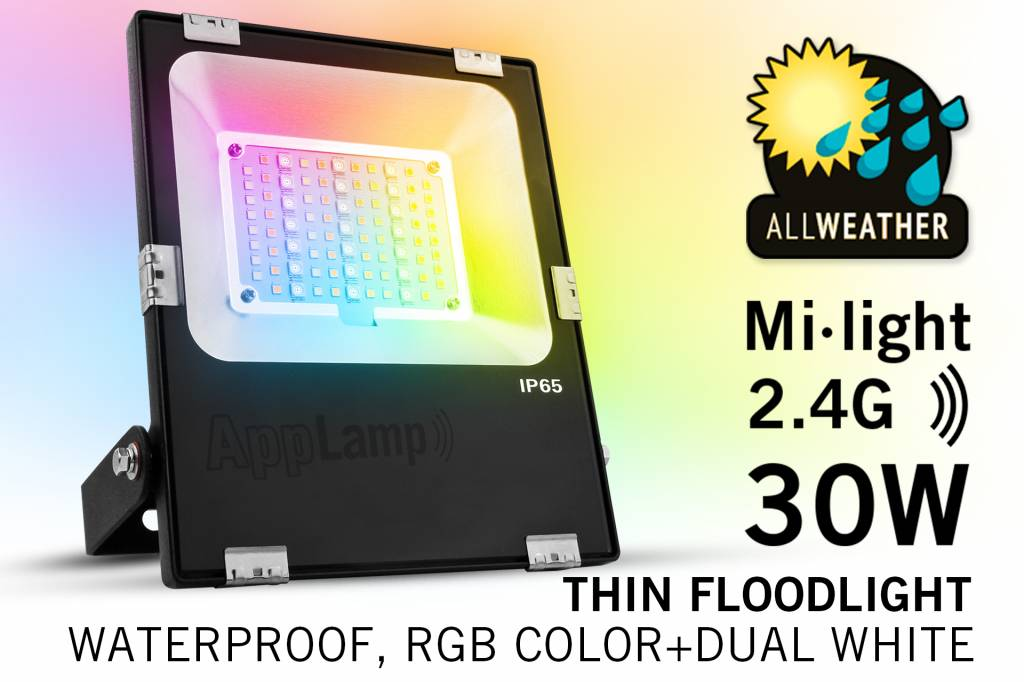 LED Schijnwerper Mi-Light 30W RGBWW Kleur + Dual White. IP65 Spatwaterdicht 220V