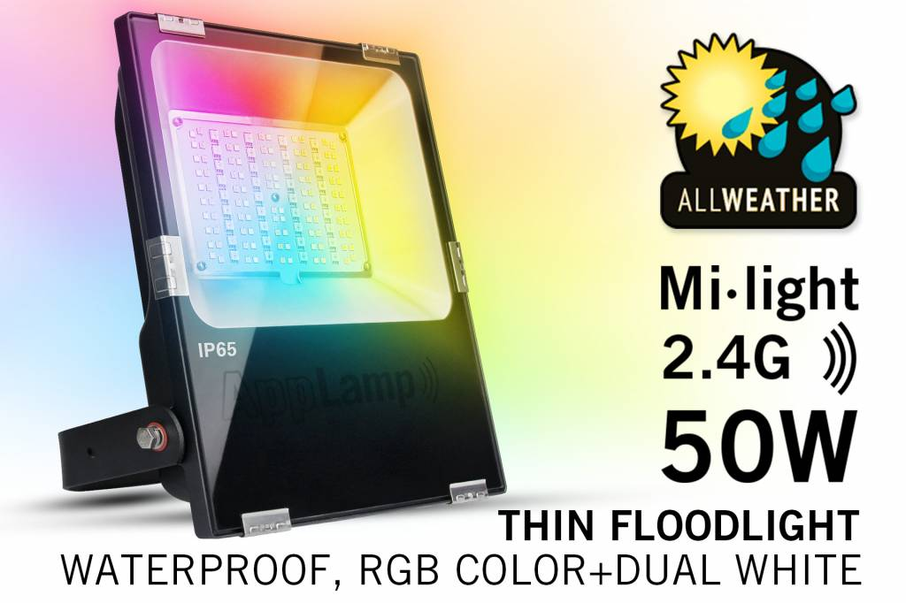 Mi·Light LED Schijnwerper Mi-Light 50W RGBWW Kleur + Dual White. IP65 Spatwaterdicht 220V