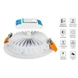 Mi·Light LED Inbouwspot met Afstandsbediening Mi-Light 15W RGBWW Kleur + Dual White IP54 Waterdicht 220V. Satijn Wit. Rond ⌀190mm