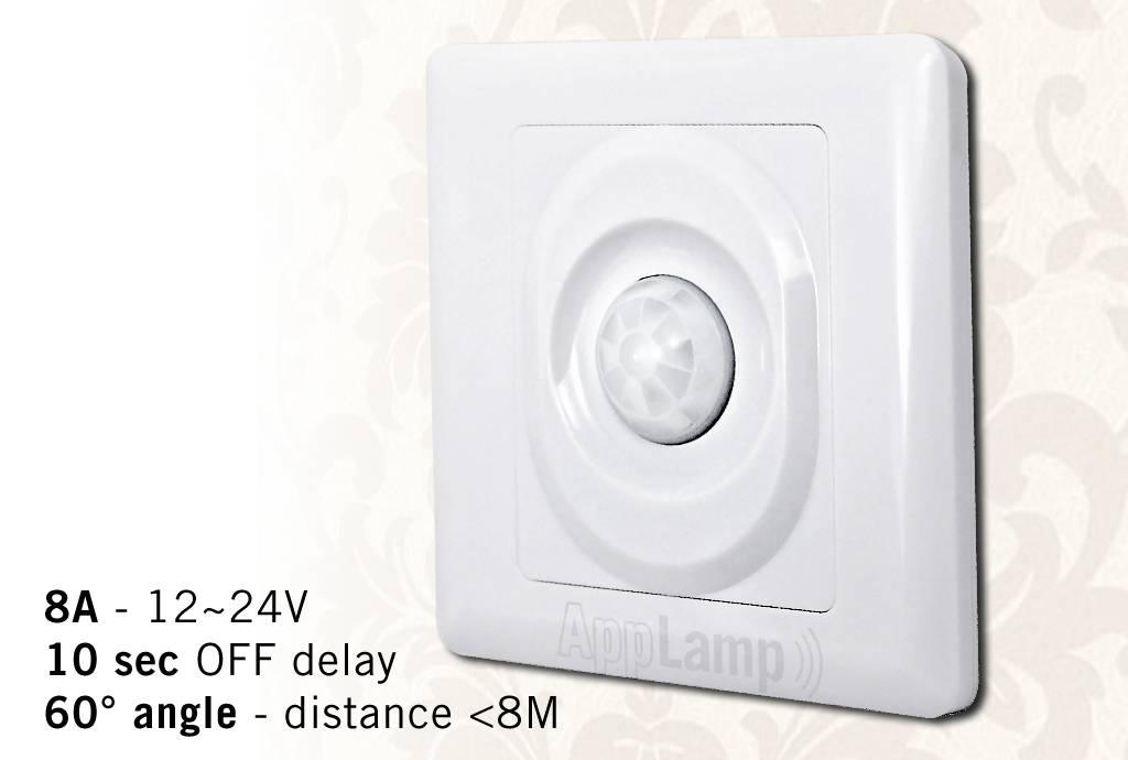 Inbouw PIR bewegingsmelder, 12-24V / 8A, 60° hoek, 10 sec.