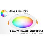 Mi·Light LED Inbouwspot Mi-Light 15W RGBWW Kleur + Dual White IP54 Waterdicht 220V. Satijn Wit ⌀190mm