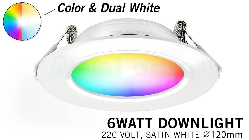 Mi·Light Mi-Light 6W RGBWW Kleur + Dual White LED Inbouwspot 220V. Satijn Wit