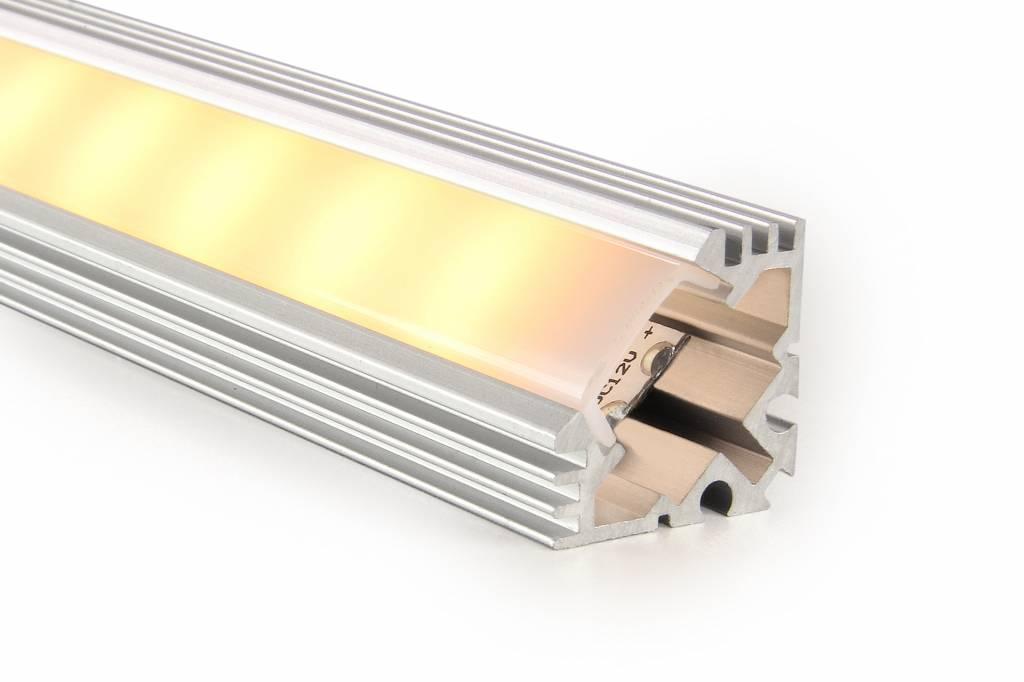 Aluminium LED strip profiel 2 meter doorlopend, incl. mist cover
