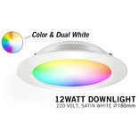 LED Inbouwspot Mi-Light 12W RGBWW Kleur + Dual White 220V. Satijn Wit ⌀180mm