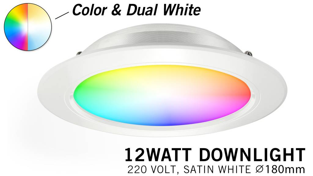 Mi·Light Mi-Light 12W RGBWW Kleur + Dual White LED Inbouwspot 220V. Satijn Wit
