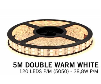 Warm Wit Led Strip | Dubbele rij 5m 120 Leds pm Type 5050 Losse Strip