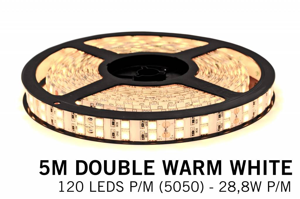 Warm Witte Ledstrip 2700K, dubbele rij 5050, 28.8W P/M 12V - IP20