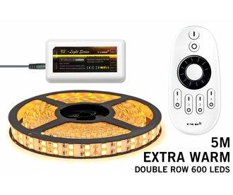 LED strip set Extra Warm Wit met dubbele rij, 600 leds met RF remote ★★★ SUPERDEAL! ★★★