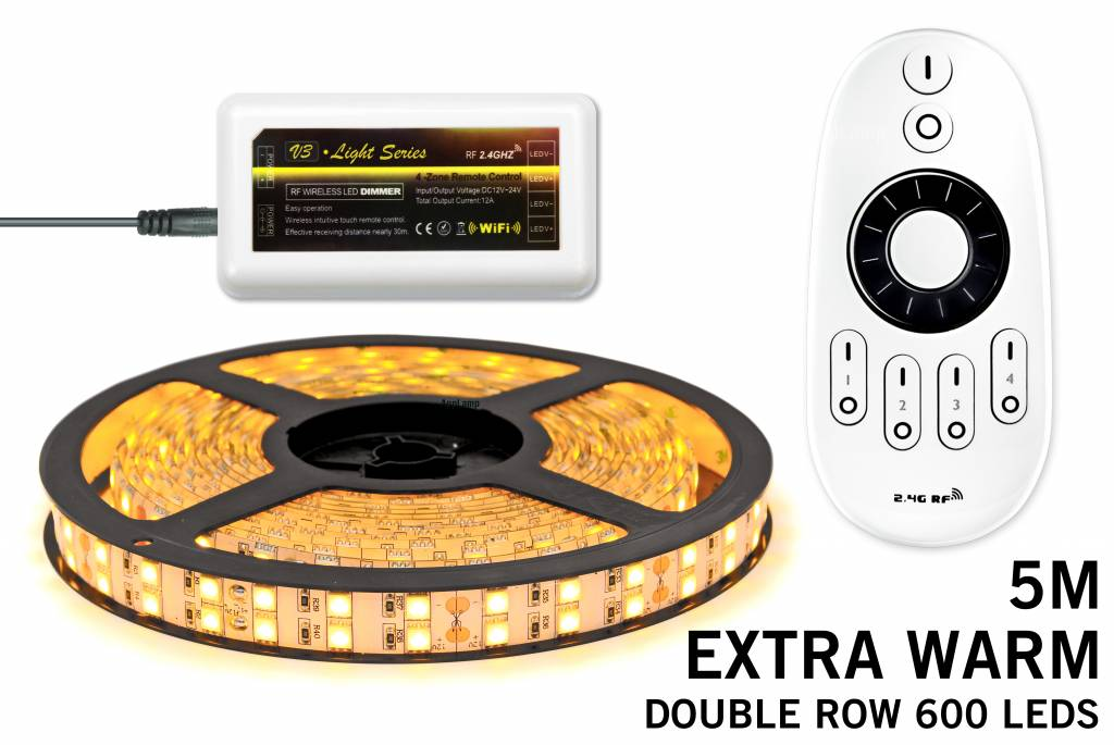 Mi·Light Extra Warm Wit Led Strip uitbreidingsset met controller en adapter | Dubbele rij 120 Leds pm Type 5050 12V 28,8W pm