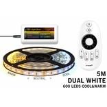 Dual White LED strip set 600 leds Variabele kleurtemperatuur 12V met remote
