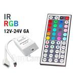 RGB IR Controller met Afstandsbediening   12-24 Volt 6 Ampère