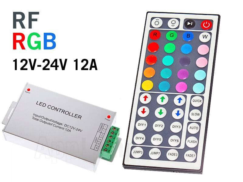 RGB LED-strip Controller met radiogestuurde 44 knops afstandsbediening, 12A 12-24V