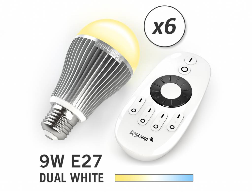 Mi-light 9W Dual White E27 Set van 6 Wifi LED Lampen