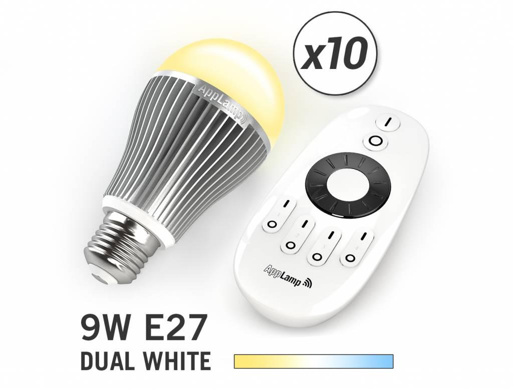 10 Wifi LED Lampen met Afstandsbediening Mi-Light 9W Dual White E27