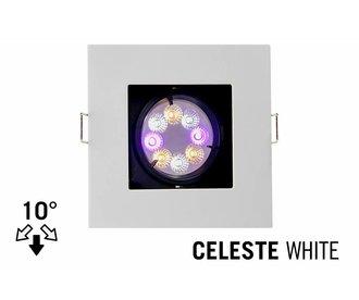 GU10 LED Inbouwspot Armatuur CELESTE. Verdiept Vierkant. 10° Kantelbaar