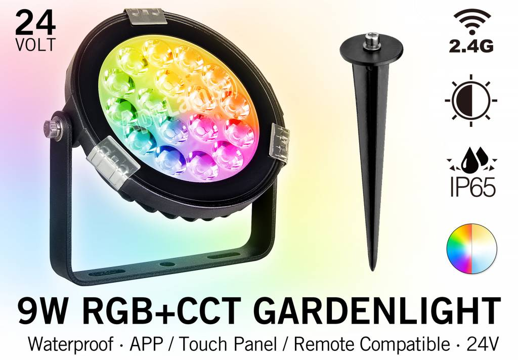 Mi·Light LED Tuinspot 9 Watt RGBWW Kleur + Dual White - IP65 - Aansluiten op 24Volt voeding