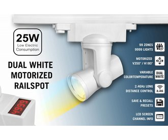 Alpha Lite 25W Dual White Rail Track Light 99 zones met 350º / 180º motorbediening