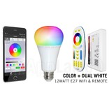 E27 RGB+Dual White 12 Watt Wi-Fi LED lampen. Complete set met Wifi Box en Remote!