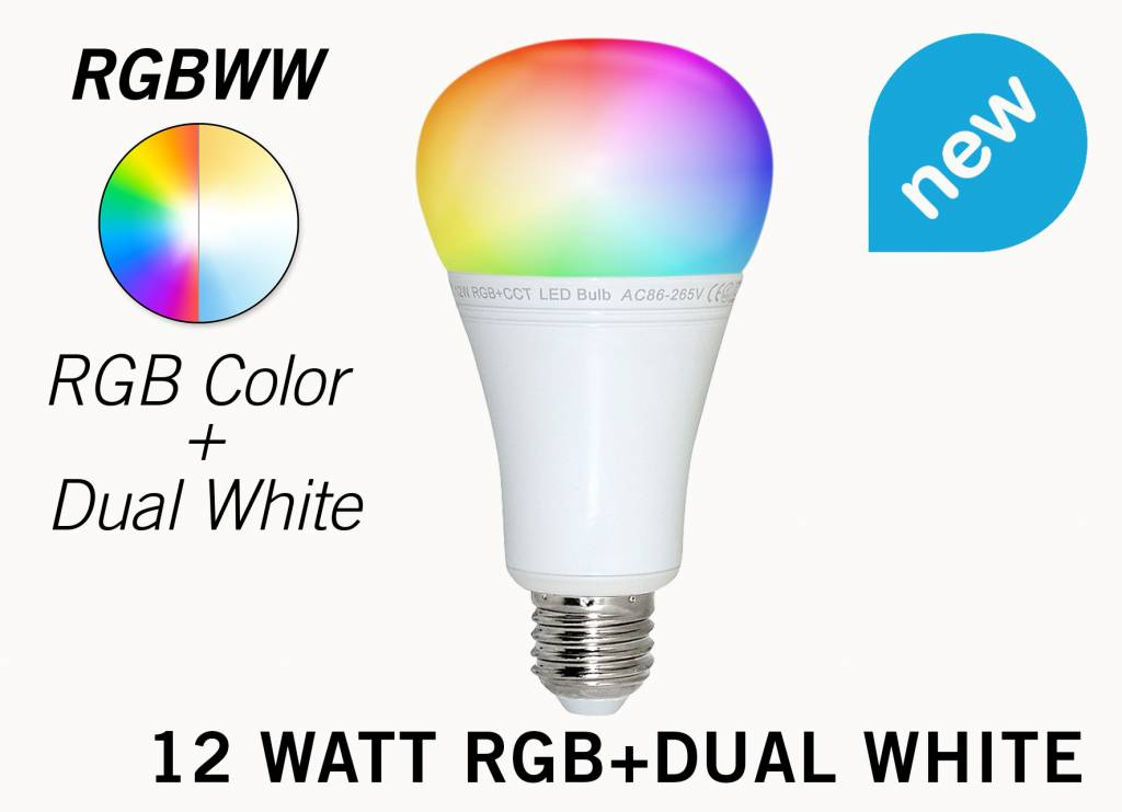 12 Watt RGB+Dual White RGBWW Mi-Light LED lamp