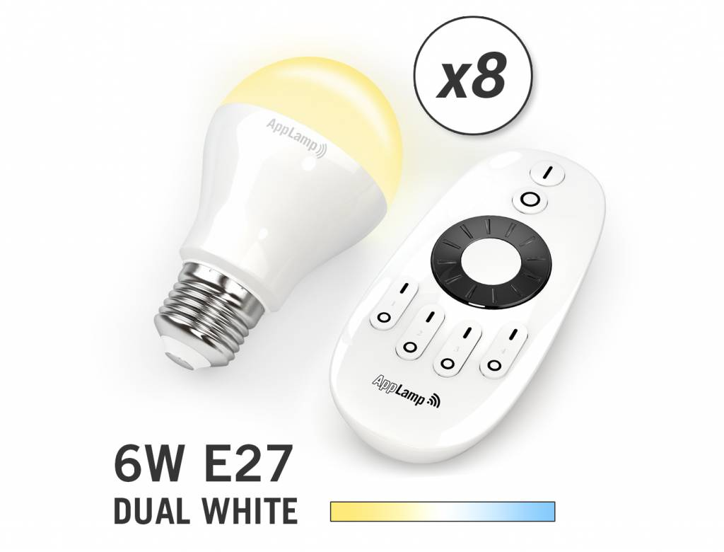 Mi-light 6W Dual White E27 Set van 8 Wifi LED Lampen