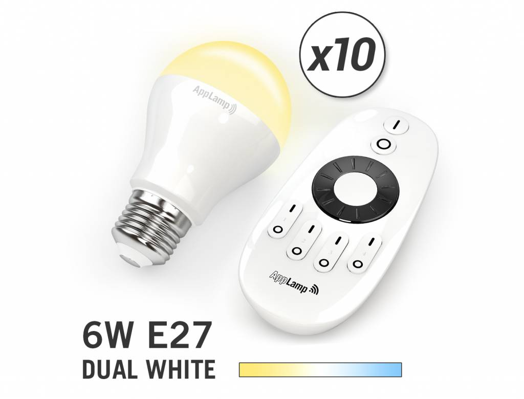 Mi-light 6W Dual White E27 Set van 10 Wifi LED Lampen