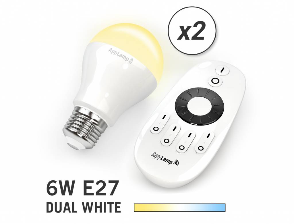 Mi-light 6W Dual White E27 Set van 2 Wifi LED Lampen