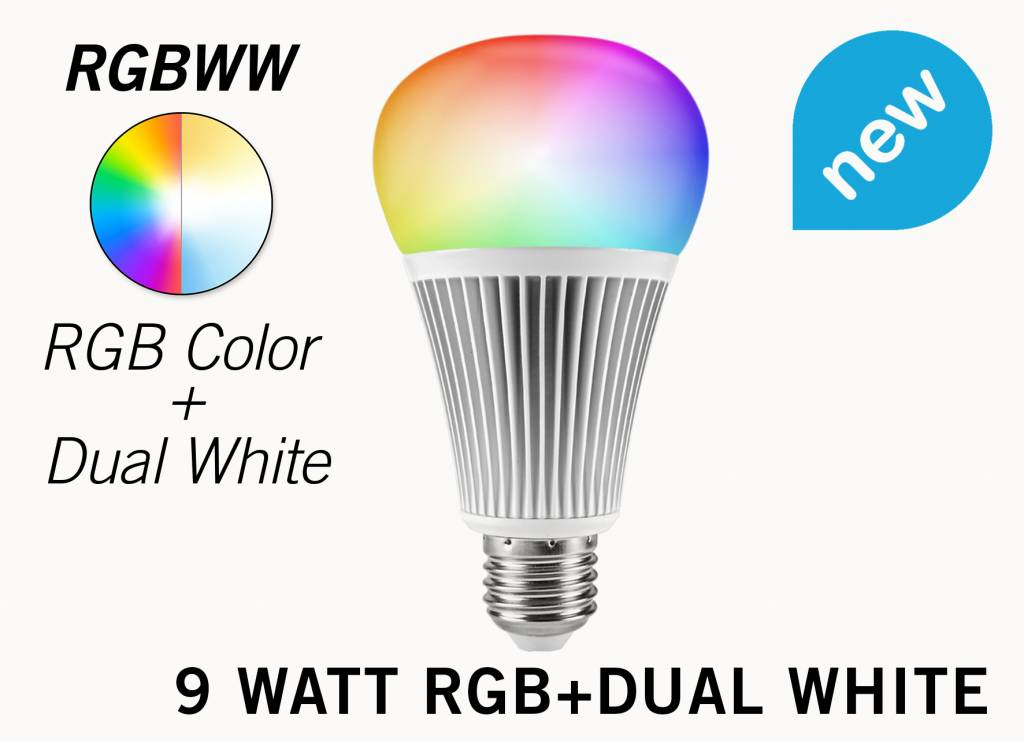 9 Watt RGB+Dual White RGBWW Mi-Light LED lamp
