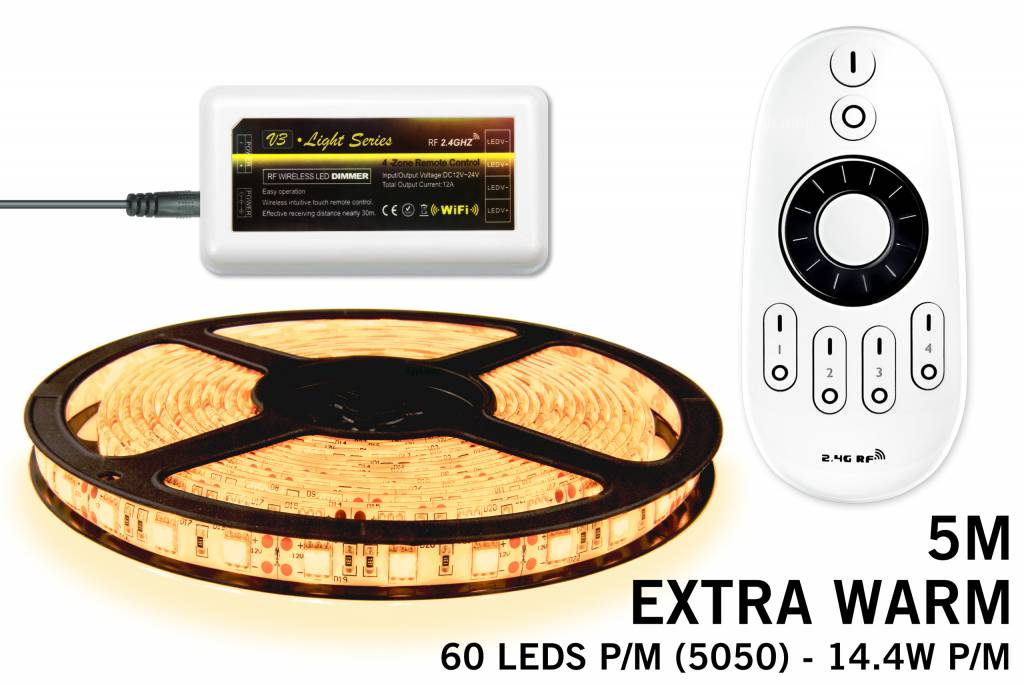 Mi·Light Extra Warm Wit Led Strip met afstandsbediening | 60 Leds pm Type 5050 12V 14,4W pm