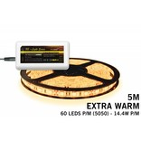 Uitbreidingsset Extra Warm Witte LED strip 300 leds 72W 12V 5M