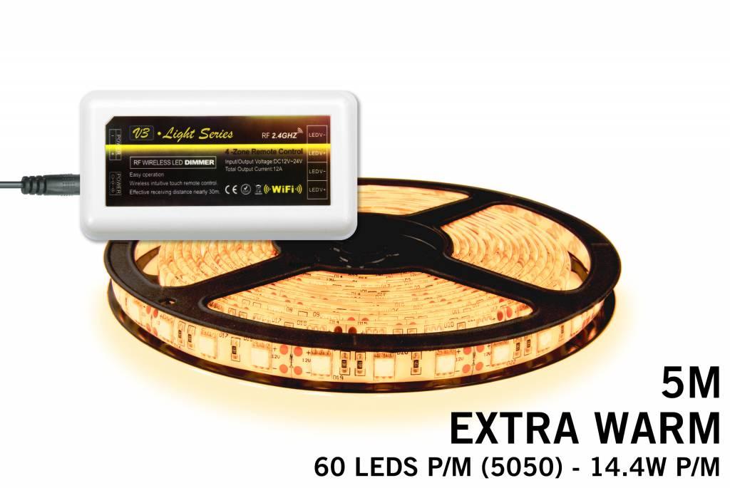 Mi·Light Uitbreidingsset Extra Warm Witte LED strip 300 leds 72W 12V 5M