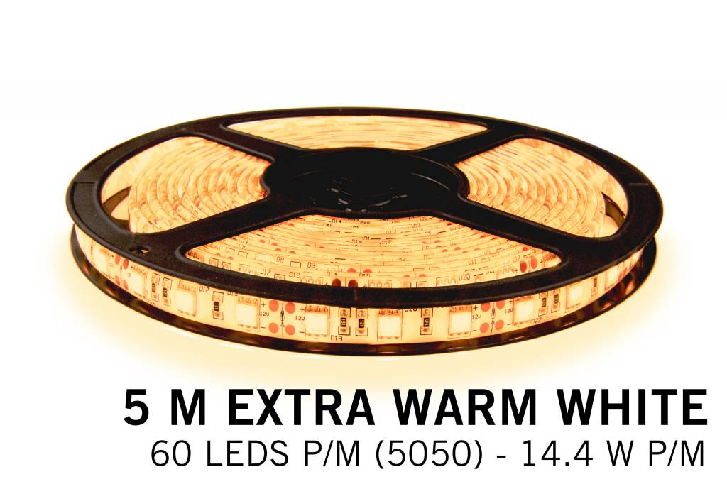 Extra Warm Wit Losse Led Strip | 5m 60 Leds pm Type 5050 12V 14,4W pm IP65