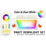 LED Inbouwspot met Afstandsbediening Mi-Light 9W RGBWW Kleur + Dual White 220V. Satijn Wit. Vierkant 120x120mm
