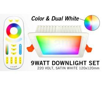Mi-Light 9W RGBWW Kleur + Dual White LED Inbouwspot 220V + Afstandbediening. Vierkant
