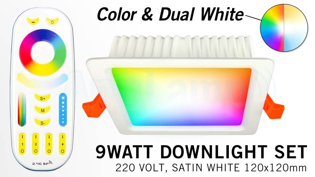 Mi·Light Mi-Light Set 9W Dimbaar RGBWW Kleur + Dual White LED Inbouwspot 220V + Afstandbediening. Satijn Wit. Vierkant 120x120mm