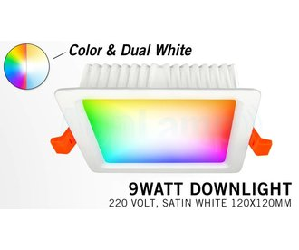 Mi-Light 9W RGBWW Kleur + Dual White LED Inbouwspot 220V. Vierkant