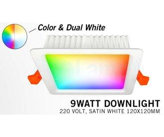 Mi·Light RGB kleur + Dual White 9 Watt 220Volt LED inbouwspot, Losse spot zonder remote.