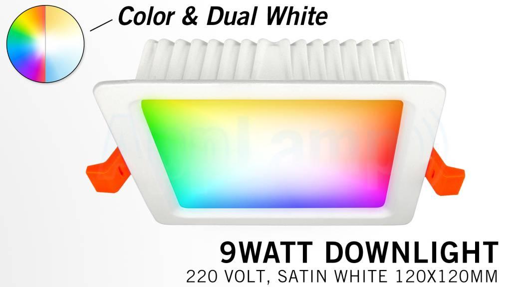 Mi·Light LED Inbouwspot Mi-Light 9W RGBWW Kleur + Dual White 220V. Vierkant Satijn Wit 120x120mm